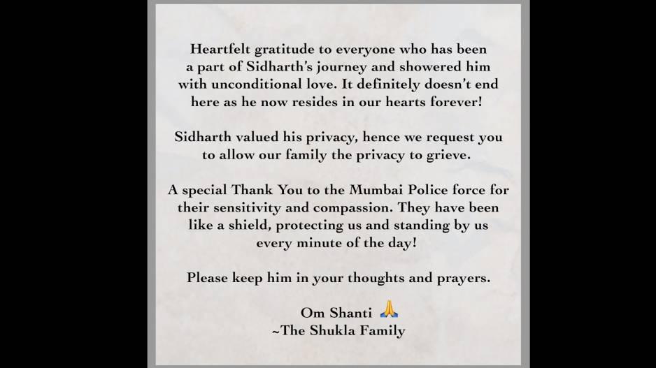 Sidharth Shukla's Family Statement