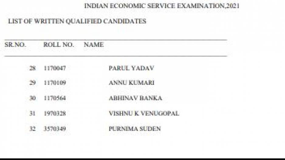 UPSC IES/ISS Result
