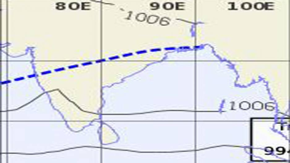 Low pressure Trough Today passing Over Odisha