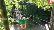 Hanging By A Thread! Without Bridge, Odisha Villagers Cross River Using Electric Cables