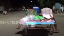 Family Cycles Patient To Hospital On Trolley In Odisha