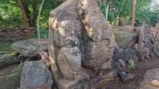 Remains Of Ancient Temple Surface From Reservoir In Odisha's Malkangiri