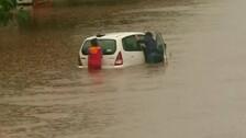 Heavy Rain Lashes Bhubaneswar; Car Gets Stuck On Waterlogged Road Near Iskcon