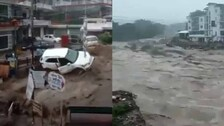 Flash Floods Triggered By Heavy Rains In Dharamshala: Cars, Buildings Swept Away