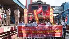 Rail Roko In Bhubaneswar As Left Parties Kick Off 6-Hr Odisha Bandh