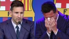 Football Legend Lionel Messi Breaks Down In Tears As He Bids Farewell To FC Barcelona