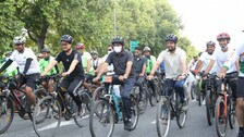 Union Minister Rides Cycle To Launch 'Pedal For Health' Campaign