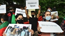 Afghan Nationals In Delhi Protest Against Pakistan