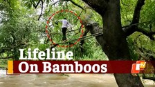 Rain Havoc: Mayurbhanj Villagers Put Life At Stake By Crossing River With Bamboo On Trees