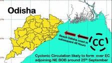 Cyclonic Circulation Over Bay Of Bengal Around Sept 25; IMD Predicts Heavy Rainfall In Odisha