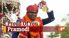 Paralympics Gold Medallist Pramod Bhagat Receives Roaring Welcome At Home In Odisha